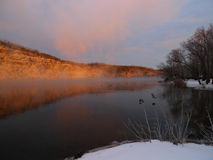 Morning in winter on the lake Royalty Free Stock Photography