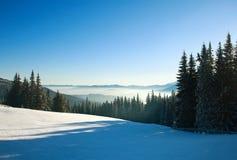 Morning winter landscape in mountains, snow forest on sky. Morning winter landscape in the mountains, snow forest on the sky background Royalty Free Stock Photos