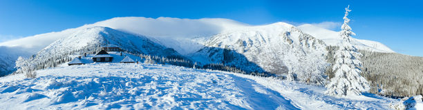 Morning winter mountain panorama. Stock Photo