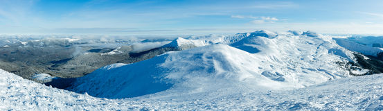 Morning winter mountain panorama (Carpathian, Ukraine). Stock Photo