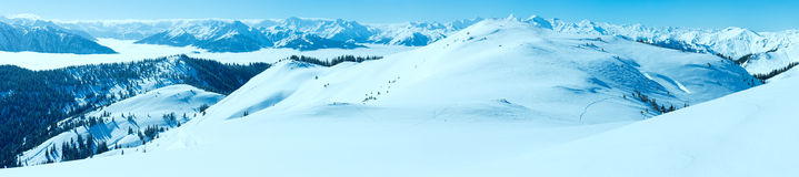 Morning winter mountain panorama (Hochkoenig region, Austria). Royalty Free Stock Images