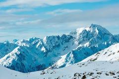 Morning winter ski resort Molltaler Gletscher (Austria). Royalty Free Stock Photos
