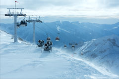 Morning winter ski resort Molltaler Gletscher (Austria). Stock Images