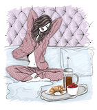Morning woman in bed Stock Photo