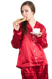 Morning - woman with cake and coffee Royalty Free Stock Image