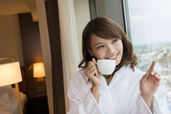 Morning woman with coffee Royalty Free Stock Photography