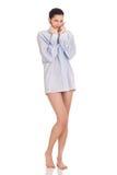 Morning, woman in man's  shirt Stock Photo