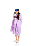 Morning woman wrapped in coverlet. Stock Images