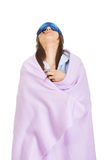 Morning woman wrapped in coverlet. Royalty Free Stock Images