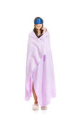 Morning woman wrapped in coverlet. Stock Photos