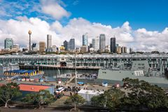 In the Morning at Woolloomooloo Bay, Sydney, Australia. Woolloomooloo Bay, Sydney, Australia -September 03, 2018: Sydney City Views at Woolloomoollo Bay with royalty free stock images