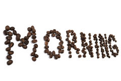 Morning word made of coffee beans Stock Image