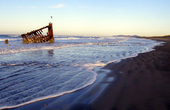 Morning Wreck 3. The Peter Iredale, an historic shipwreck on the beach at Fort Stevens State Park on the Oregon Coast. Taken on a winter morning with the tide Royalty Free Stock Images