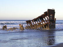 Morning Wreck 4. The Peter Iredale, an historic shipwreck on the beach at Fort Stevens State Park on the Oregon Coast. Taken on a winter morning with the tide Royalty Free Stock Photos