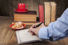 Morning Writing with Croissant Stock Photography
