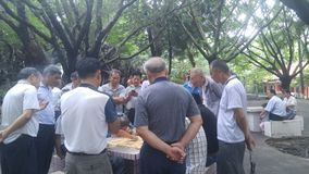 Shenzhen, China: middle-aged and elderly men play chess. In the morning, in Xixiang Park of Shenzhen, the middle-aged and old men played chess as entertainment royalty free stock photos