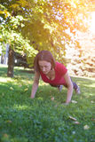 Morning yoga class. Royalty Free Stock Image