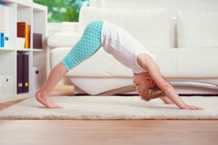 Morning yoga exercises Stock Images
