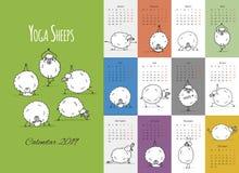 Morning yoga sheeps, calendar 2019 design royalty free illustration