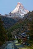 Morning in Zermatt. Early morning in Zermatt - village in Swiss Alps under famous Matterhorn peak, Switzerland royalty free stock image
