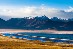 Morning in Zhaxi island by Nam Co lake Stock Photos