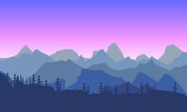 Morninglandscape hermoso de la montaña Silueta de un bosque en t stock de ilustración
