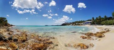 Morningstar Beach. Panorama of picturesque Caribbean beach on St. Thomas stock photo