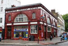 Mornington Crescent Station Camden London. View of the outside of Mornington Crescent Tube station in Camden Town, London made famous by the 'game' named after Royalty Free Stock Images