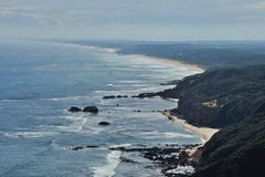 Mornington Peninsula beaches. Scenic view and Mornington Peninsula beaches with cliffs, waves, sandy beaches and cloudy sky in Victoria, Australia stock images