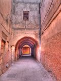 Moroccan Alley. Colourful alleyway in Marrakech, Morocco Stock Image