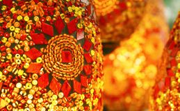 Moroccan / Arabian Lamps. A close up of the intricate illuminated mosaic pattern on beautiful Moroccan style hanging lanterns stock image