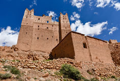 Moroccan architecture, kasbah. Kasbah (fortified palace) and ksar (village fortified by high mudbrick walls) in the Valley of the Dades river, Morocco Royalty Free Stock Images
