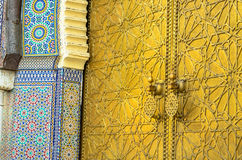 Moroccan Art of the Gate to the Royal Palace of Fes stock photography