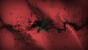 Morocco grunge dirty flag waving on wind. Moroccan background fullscreen grease flag blowing on wind. Realistic filth fabric texture on windy day Stock Photos