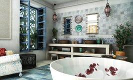 Moroccan bathroom. Interior design rendering of moroccan bathroom royalty free stock photo