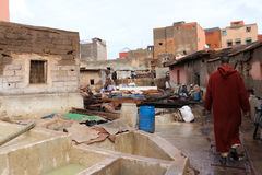 Moroccan Bazzar. Preparing leather - tannery - Marrakech souk - Morocco Stock Photo