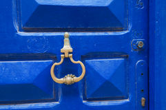 Moroccan blue door with knocker in El Jadida Stock Photography