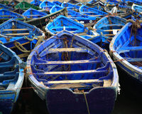 Moroccan blue fishing boats Royalty Free Stock Photos