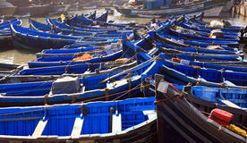 Moroccan Blue fishing boats Royalty Free Stock Photo