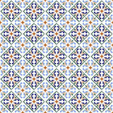Moroccan blue tiles print or spanish ceramic surface vector pattern texture Royalty Free Stock Image