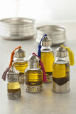 Moroccan bottles with organic cosmetic oil Royalty Free Stock Images