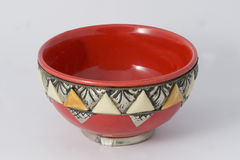 Moroccan Bowl. Small moroccan bowl red colored with a silver edge Royalty Free Stock Photography