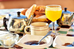 Moroccan breakfast served on hotel terace in Atlas Mountains. Moroccan breakfast served on hotel terrace in Atlas Mountains royalty free stock images