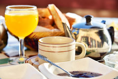 Moroccan breakfast served on hotel terace in Atlas Mountains stock photography