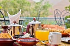 Moroccan breakfast served on hotel terace in Atlas Mountains. Moroccan breakfast served on hotel terrace in Atlas Mountains stock photos