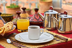 Moroccan breakfast served on hotel terace in Atlas Mountains. Moroccan breakfast served on hotel terrace in Atlas Mountains royalty free stock photography