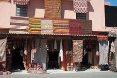 Moroccan building with Berber carpets Royalty Free Stock Photos
