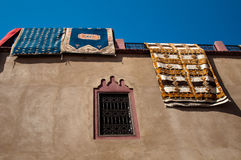 Moroccan building with Berber carpets Stock Photography