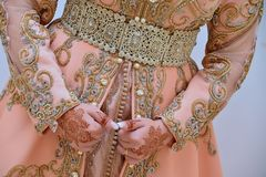 Free Moroccan Caftan . Dressed By The Moroccan Bride On Her Wedding Day. Stock Photos - 158764153
