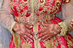 Free Moroccan Caftan . Dressed By The Moroccan Bride On Her Wedding Day. Stock Images - 158768914